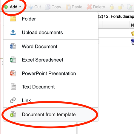 You find the available templates when you go to add a new document